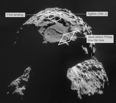Philae on Comet (retrieved from http://www.bbc.com/news/science-environment-30034060)